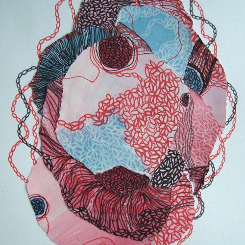 Collage avec techniques mixtes 4 05 2020 1 Acrylique et crayons Posca