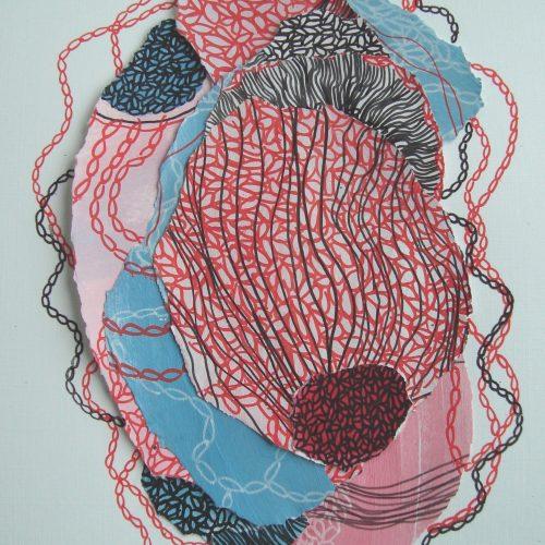 Collage avec techniques mixtes 4 05 2020 3 Acrylique et crayons Posca 30 40 CM