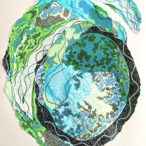 Constellation, eau, mer, vent collage du 10 juillet 2020 avec techniques mixtes sur papier, acrylique et crayons posca 50 65 cm